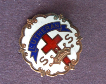 Vintage Sunday School Pin Lutheran Religious Little System 8 K Gold