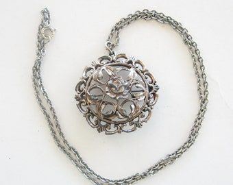 Vintage Necklace Rose Medallion Silver Tone Metal Embossed Brooch Pin
