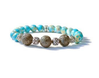 Lava Stones and Jasper Aromatherapy Essential Oils Stretch Bracelet