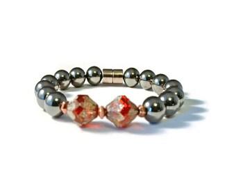Magnetic Hematite Therapy Bracelet, Ruby Czech Glass and Black Hematite