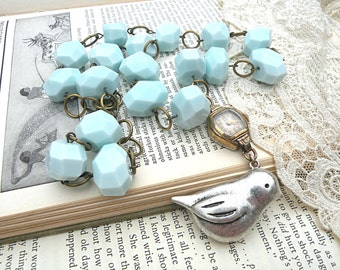 upcycle watch necklace bird assemblage blue chunky thick