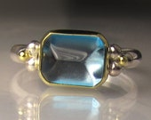 SALE - 20% OFF - Blue Topaz Ring - 18k Yellow Gold and Sterling Silver - sz 7.5-7.75