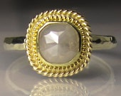 Rose Cut Daimond Engagement Ring, 18k Gold Granulated Rose Cut Diamond Ring, Diamond Engagement Ring