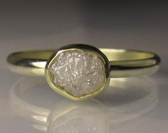 Raw White Diamond Engagement Ring, 18k and 14k Gold, Rough Diamond Ring, White Uncut Diamond Ring, Conflict Free Diamond, Raw Diamond Ring