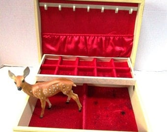 Large Deluxe Vintage Jewelry Box, Ecru w/ Gold Fleur Design, Hinged Lid, Red Satin and Velvet Lined w/ Neclace Rack and Pouch, REDUCED