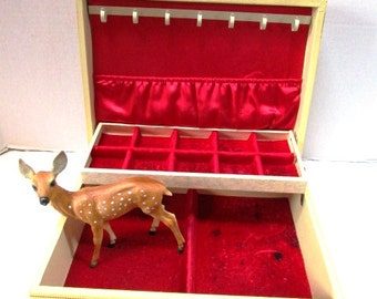 REDUCED Large Deluxe Vintage Jewelry Box, Ecru w/ Gold Fleur Design, Hinged Lid, Red Satin + Velvet Lined w/ Neclace Rack and Pouch, REDUCED