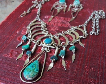 Vintage Turquoise and Silver Necklace Earrings Set Bohemian chic Gypsy Hippie Demi Parure Tribal Ethnic Indian Style