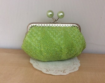 Lime Beaded Coin Purse / Silver Square Frame / Pearl Green Candy Frame / Wallet / Change / Kiss Lock Purse