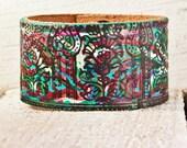Ideas For Gifts - Boho Jewelry - Colorful Leather Cuff - Bohemian Leather Bracelet Wristband - Eco Friendly Bracelets