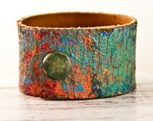 Painted Leather Cuff - Colorful Leather Jewelry - Hand Painted Bracelet Accessories - 2016 Leather Cuff Leather Bracelet