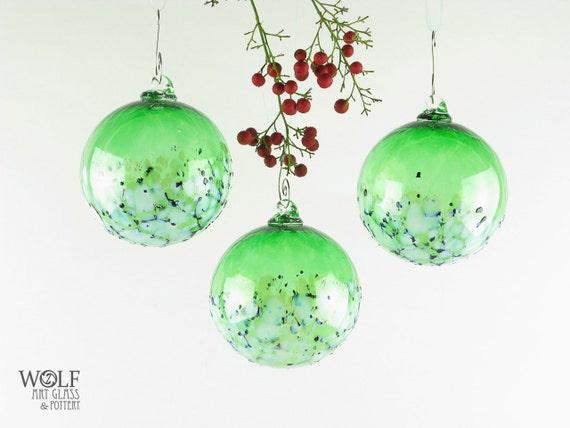 Blown Glass Christmas Ornament Suncatcher Ball Emerald Green Blossom Christmas Holiday Ornament