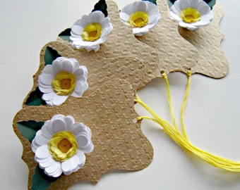 Set of Five Embossed Flower Gift Tags with Quilled Flowers