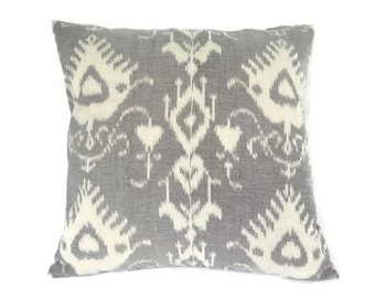 Ikat, Pillow, Cushion, Eclectic, Ethnic, Industrial, Rustic, Global Decor, Indonesian Textiles, Gray, Cream