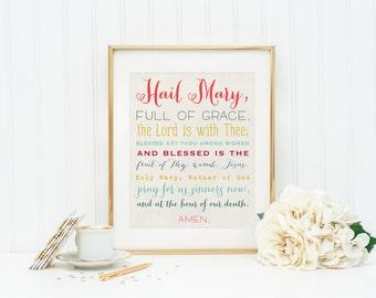 Set of 4 Prayer Prints. Our Father, Hail Mary, Glory Be and Angel of God Art Prints. Christian Wall Art Prints. Kids Prayer Prints.