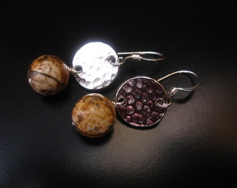 Picture Jasper Earrings, Picture Jasper and Silver Earrings,Picture Jasper Round Beads, Hammered Rhodium Circle Links and Sterling Silver