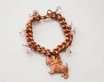 Dog charm bracelet, Vintage Scottie jewelry, Westie Terrier dog bracelet, Animal jewelry, Swarovski charm bracelet