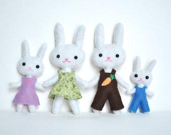 Felt Bunny Doll Pattern * Mini Felt Family Of Bunny Rabbits PDF Sewing Pattern