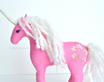 Hand Stitched Stuffed Unicorn, *Made To Order*  Felt Waldorf Style Plush Animal, Embroidered Felt Unicorn Plush