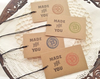 SALE Made for You Sewing Kraft Button Tags Handmade Hand-sewn Set of 8