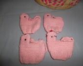 Vintage Handmade Easter Egg Cover Cozies Set of 4 Pink Chicks