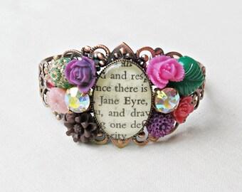 Jane Eyre Cuff Bangle Bracelet. Vintage Flower Leaf Charlotte Bronte. Literature dspdavey Two Cheeky Monkeys Copper. Brass Pink Purple Green
