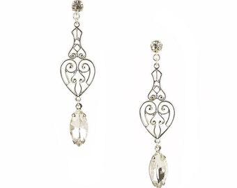 Elaine Bridal Earrings, Vintage style Bridal Drop Earrings, Bohemian Bridal Earrings, Wedding Crystal Earrings, Victorian Filigree Earrings
