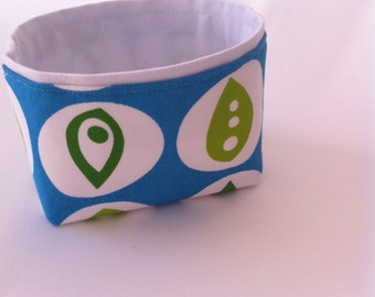 aqua blue and lime green pea pod mini fabric bin // nursery storage bin