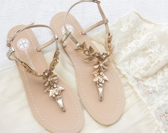 Bohemian Wedding Sandals Shoes with Gold Brass Leaves and Flowers Destination Beach Wedding Something Blue Bella Belle Agatha