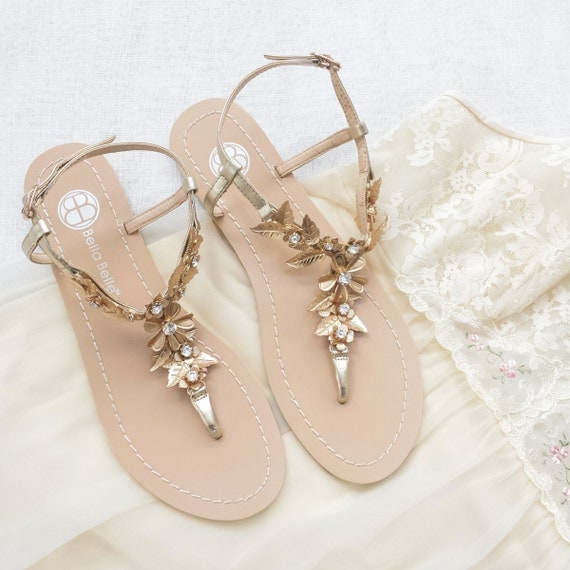 Bohemian Wedding Sandals Shoes With Gold Brass Leaves And