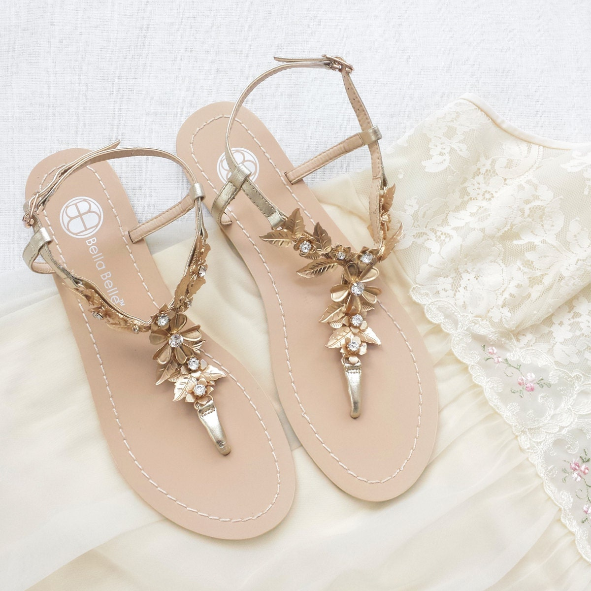 Wedding Wedding Slippers bohemian wedding sandals shoes with gold brass leaves and