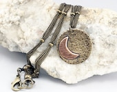 Mixed Metal Necklace, Crescent Moon, Celestial Necklace, To The Moon and Back, Celestial Jewelry, Moon Jewelry, Hammered Metal, Disc Pendant