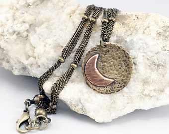 Crescent Moon Jewelry, Celestial Jewelry, Moon Gift, One of a Kind Disc Pendant, Mixed Metal Necklace, Celestial Necklace, Crescent Necklace