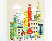 New York Art Canvas Wall Art, Framed Skyline Print, Cityscape illustration, Home Office Decor and Kids Childs room, Nursery, Ready to hang