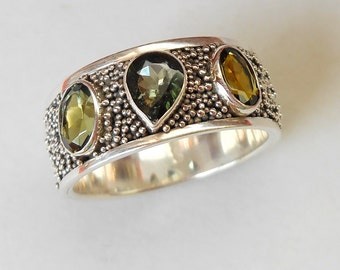Unique silver sterling three Tourmaline gems ring band / silver granulation technique  / Bali handmade jewelry / silver 925 / only size 9