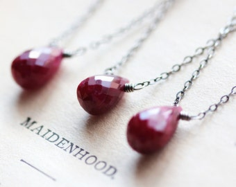 July Birthstone Necklace Ruby Necklace Sterling Silver Necklace Free Shipping Red Gemstone Pendant Layering Necklace