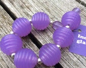 Lampwork beads by LilLizaJane - lilac opal groovy bead set