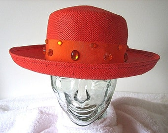 HAT Vintage PILL BOX fashion Authentic vintage 1960's Costume Orange Straw with Jelly Beads and Hat Pin