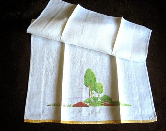 Table Cloth Towels Runner Kitchen Bath Guest Hand Towel Screen Print Trees