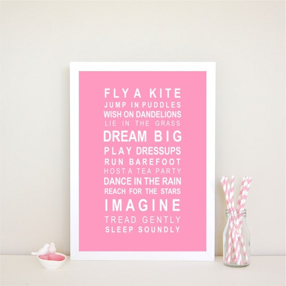Dreams for your girl typography bus roll wall art print