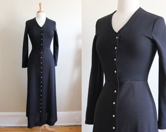 Vintage Jonathan Logan Black Knit Rhinestone Button Maxi Dress