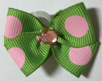 Green with Pink Dots Dog Grooming Hair Bow with Pink Rhinestone Center