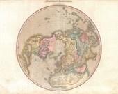 Antique Map - Northern Hemisphere -  Victorian Vintage Reproduction - Romantic Travel Art - Vintage Travel Print