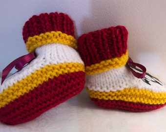 Custom handmade knit NFL WASHINGTON DC baby booties 0-12M-Team colors,Has logo not shown in Picture , cute gift photos