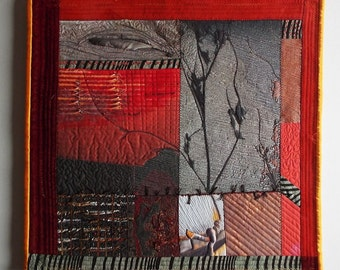 Art Quilt, Fiber Art, Wall Hanging, non-traditional quilt, collage art, fiber collage, Textile art