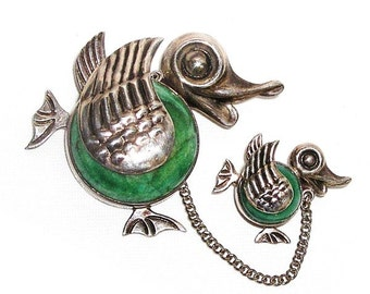 Cute Mexico Mama and Baby Duck Figural Brooch