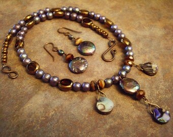 Purple Blue Freshwater Pearl with Brass Necklace and Earrings