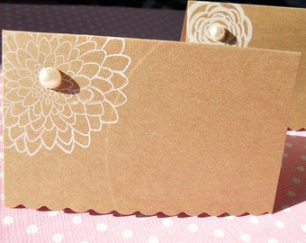 Wedding Place Cards, Bridal Shower Place Cards, Floral Place Cards, Kraft Place Cards, White Floral Place Cards  - KPC1