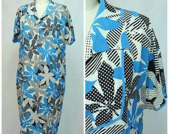 80s Graphic Dress / Plus Size Vintage Dress / Tropical Print Dress / Lightweight Tunic Dress / 1980s Tropical Dress / Hawaiian Print Dress