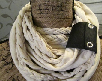 SALE!! Leather Wrapped Oatmeal Braided Infinity Scarf