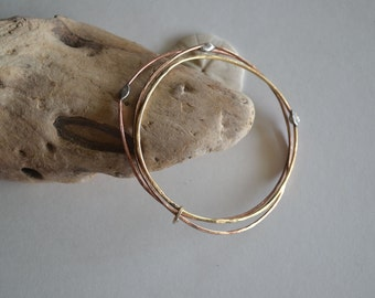 Bangle Bracelets Handmade Bangles THREE Stacking Bracelets Hammered Simple Boho Chic Copper/Red Brass/Bronze/Sterling Silver Chic Boho